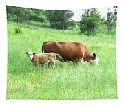 Grazing Cow And Calf Tapestry