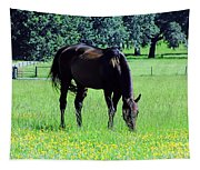 Grazing Horse In The Flowers Tapestry