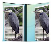 Great Blue Heron - Gently Cross Your Eyes And Focus On The Middle Image Tapestry