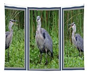 Great Blue Heron Collage Tapestry