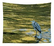 Great Blue Heron On A Golden River Tapestry