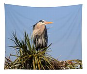 Great Blue Heron On Nest In A Palm Tree Tapestry