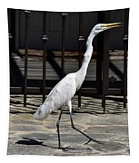 Great Egret In The Neighborhood Strutting 1 Tapestry