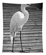 Great Egret On The Pier - Black And White Tapestry