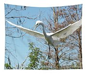 Great Egret Over The Treetops Tapestry