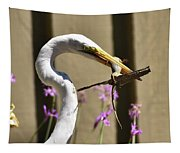 Great Egret With Lizard Who Is Holding Onto Wood Tapestry
