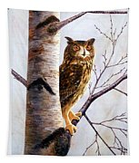 Great Horned Owl In Birch Tapestry
