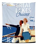 Great Lakes Cruises - Canadian Pacific - Retro Travel Poster - Vintage Poster Tapestry