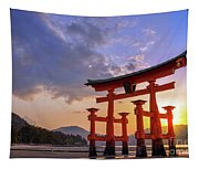 Great Torii Of Miyajima At Sunset Tapestry