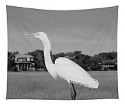 Great White Egret Black And White Tapestry