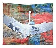Great White Egret Landing Tapestry