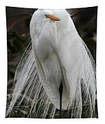 Great White Egret Windblown Tapestry