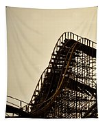 Great White Roller Coaster - Adventure Pier Wildwood Nj In Sepia Triptych 1 Tapestry