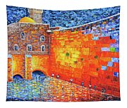 Wailing Wall Greatness In The Evening Jerusalem Palette Knife Painting Tapestry