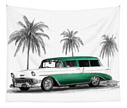 Green 56 Chevy Wagon Tapestry