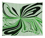Green And Black Embroidered Butterfly Abstract Tapestry