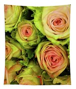 Green And Pink Rose Bouquet Tapestry