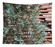 Green And Red - Cypress Branches Over Antique Roman Brick Wall Tapestry