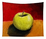Green Apple With Red And Gold Tapestry