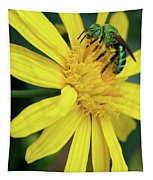 Green Bee On Yellow Daisy Tapestry