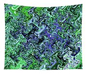 Green Crystal Digital Abstract Tapestry