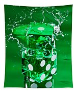Green Dice Splash Tapestry
