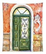 Green Door In Venice Italy Tapestry