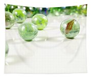 Green Glass Marbles Close-up Views Tapestry