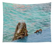 Green Iguana Peering Over Wall Tapestry