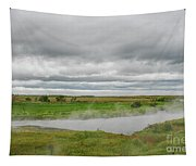 Green Landscape With Steamy River Tapestry
