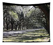 Green Lane With Live Oaks - Black Framing Tapestry