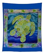 Green Sea Turtle Silk Painting Tapestry