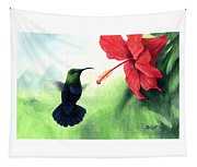 Green-throated Carib Hummingbird And Red Hibiscus Tapestry