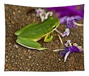 Green Tree Frog And Flowers Tapestry