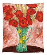 Green Vase And Poppies Tapestry