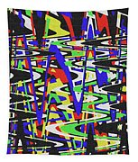 Green Yellow Blue Red Black And White Abstract Tapestry