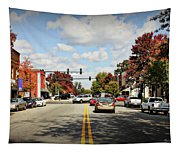 Greensboro Georgia Corner Of Main Street And Broad Street Fall Leaves Greensboro Georgia Art Tapestry