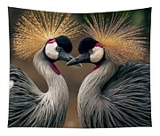 Grey Crowned Cranes Of Africa Tapestry