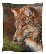 Grey Wolf Face Tapestry