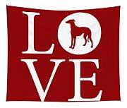 Greyhound Love Red Tapestry