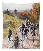 Group Riding Penny Farthing Bicycles Tapestry
