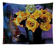Grunge Friendship Rose Bouquet With Candle By Lisa Kaiser Tapestry