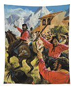 Guiseppe Garibaldi And His Army In The Battle With The Neopolitan Royal Troops Tapestry