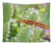 Gulf Fritillary On Cactus  Tapestry