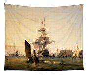 H M S Britannia Entering Portsmouth Tapestry