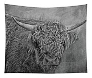 Hairy Highlander Bw Tapestry