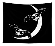 Halloween Bats And Crescent Moon Tapestry