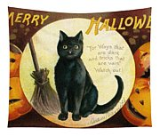 Halloween Greetings With Black Cat And Carved Pumpkins Tapestry
