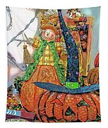 Halloween Scarecrow And Pumpkin Pa 02 Vertical Tapestry