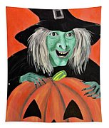 Halloween Witch And Pumpkin Art Tapestry
